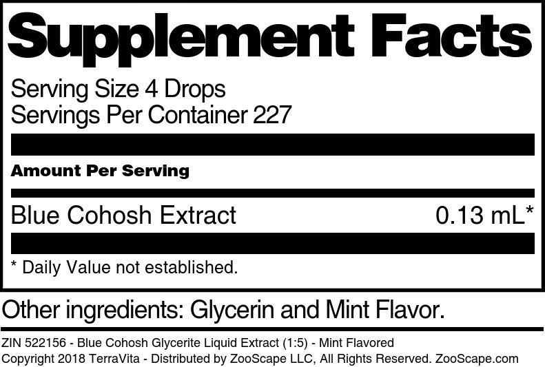 Blue Cohosh Glycerite Liquid Extract (1:5)