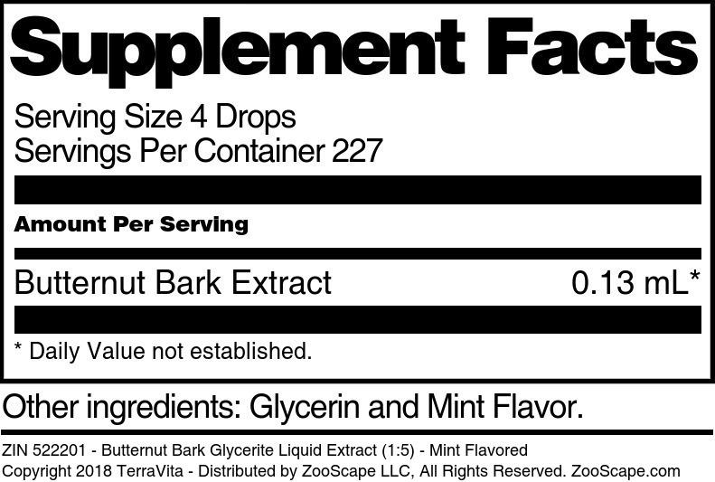 Butternut Bark Glycerite Liquid Extract (1:5)