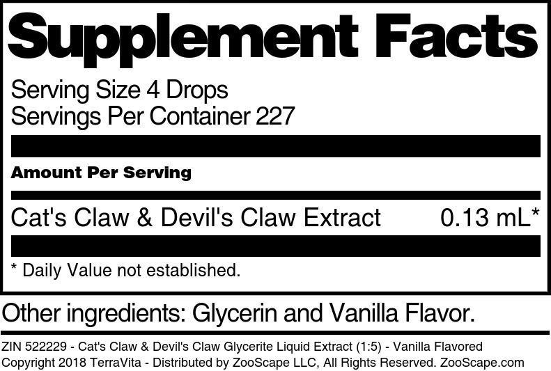 Cat's Claw & Devil's Claw Glycerite Liquid Extract (1:5)