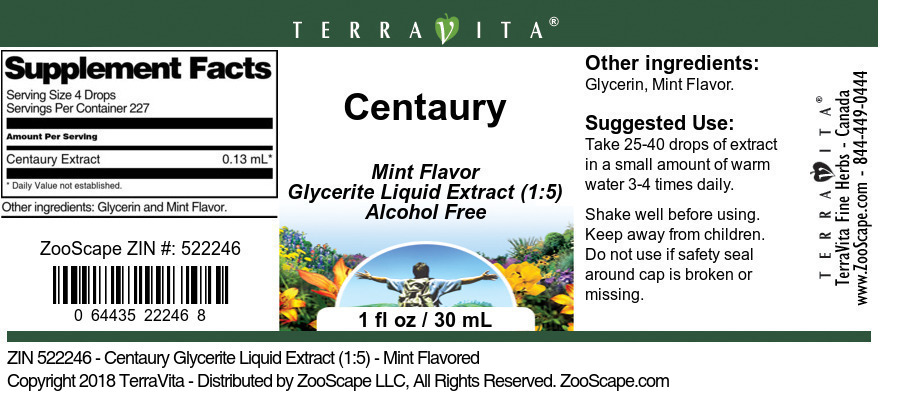 Centaury Glycerite Liquid Extract (1:5)