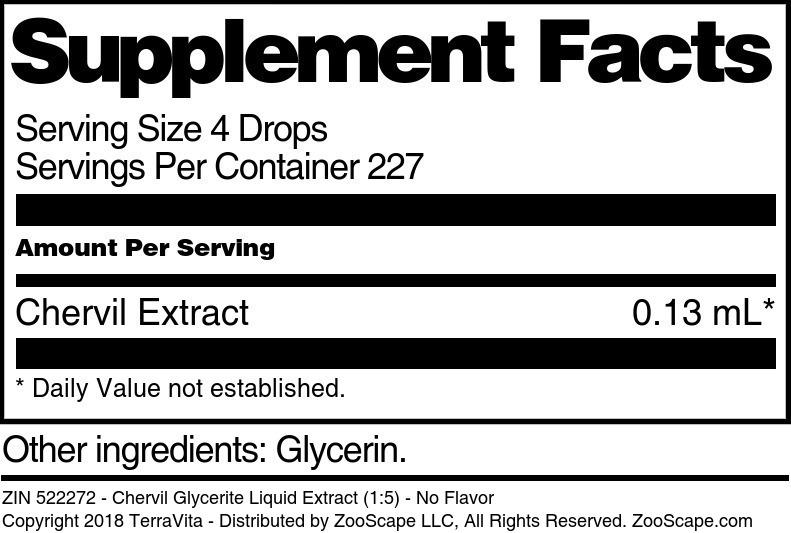 Chervil Glycerite Liquid Extract (1:5)