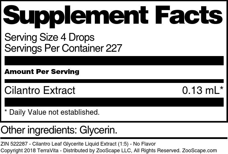 Cilantro Leaf Glycerite Liquid Extract (1:5)