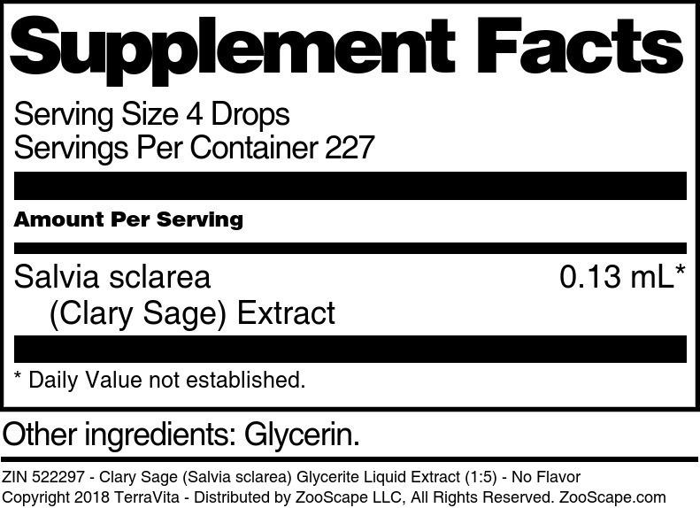 Clary Sage (Salvia sclarea) Glycerite Liquid Extract (1:5)