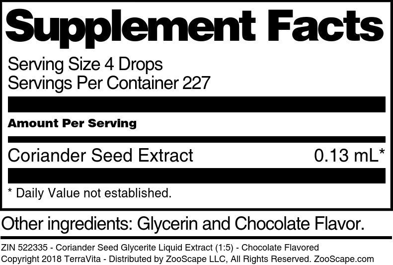 Coriander Seed Glycerite Liquid Extract (1:5)