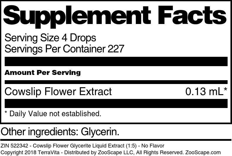 Cowslip Flower Glycerite Liquid Extract (1:5)