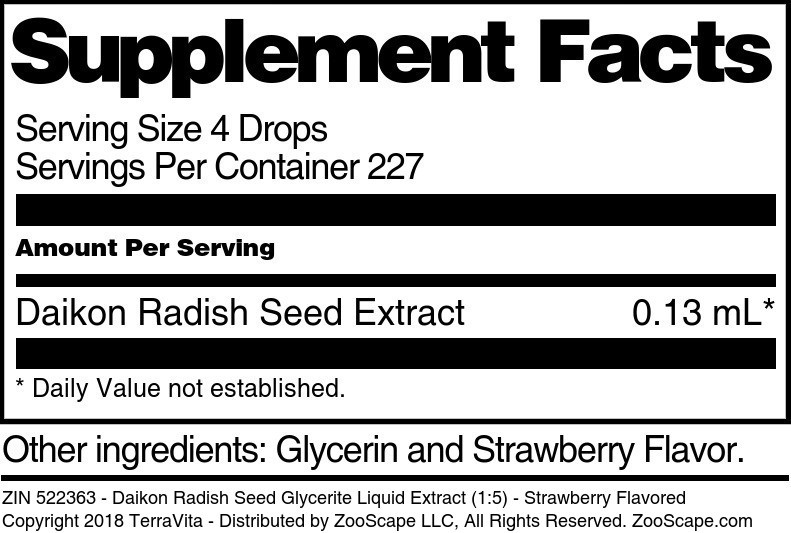 Daikon Radish Seed Glycerite Liquid Extract (1:5)