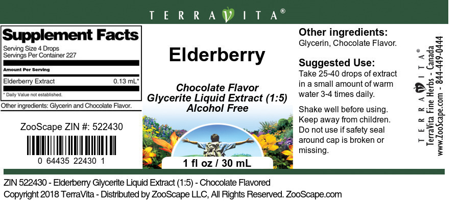 Elderberry Glycerite Liquid Extract (1:5)