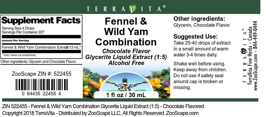 Fennel & Wild Yam Combination Glycerite Liquid Extract (1:5)