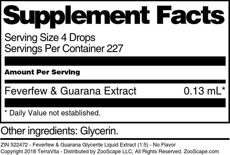 Feverfew & Guarana Glycerite Liquid Extract (1:5)