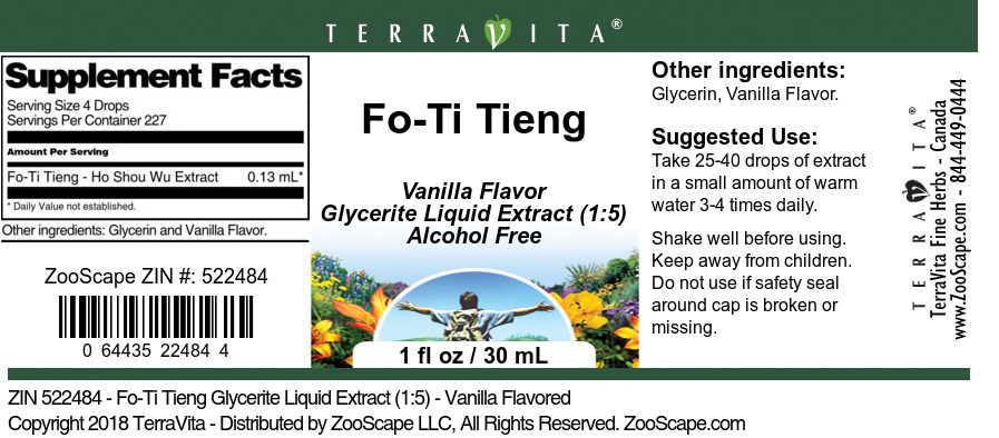Fo-Ti Tieng Glycerite Liquid Extract (1:5)