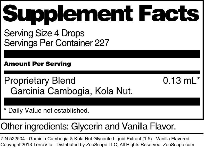 Garcinia Cambogia & Kola Nut Glycerite Liquid Extract (1:5)