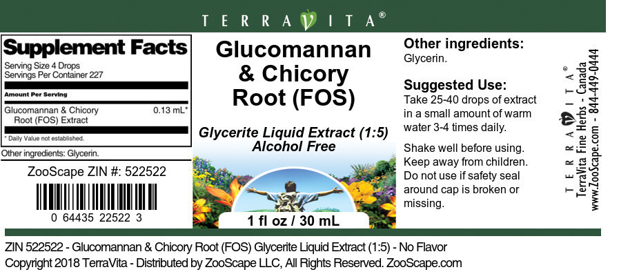 Glucomannan & Chicory Root (FOS) Glycerite Liquid Extract (1:5)