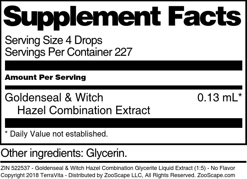 Goldenseal and Witch Hazel Combination