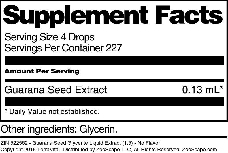 Guarana Seed Glycerite Liquid Extract (1:5)