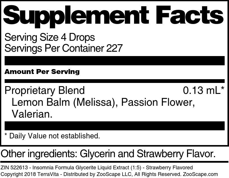 Insomnia Formula Glycerite Liquid Extract (1:5)
