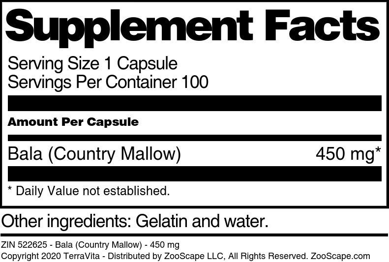 Bala (Country Mallow) - 450 mg
