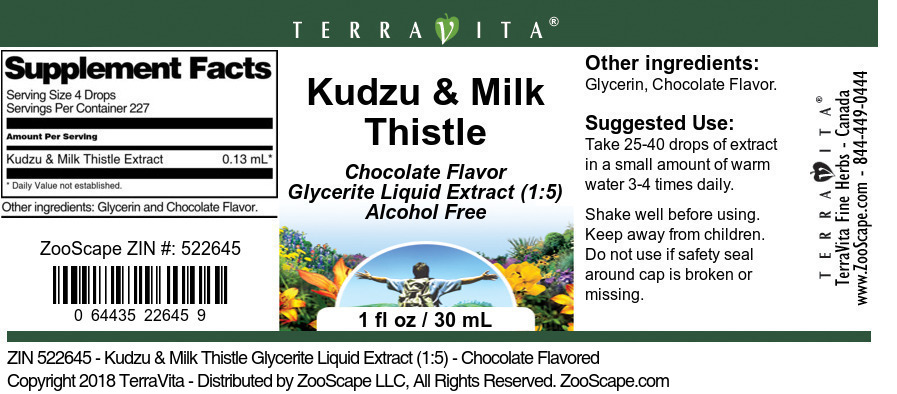 Kudzu & Milk Thistle Glycerite Liquid Extract (1:5)