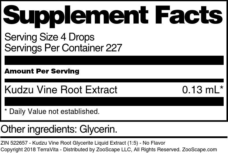 Kudzu Vine Root Glycerite Liquid Extract (1:5)