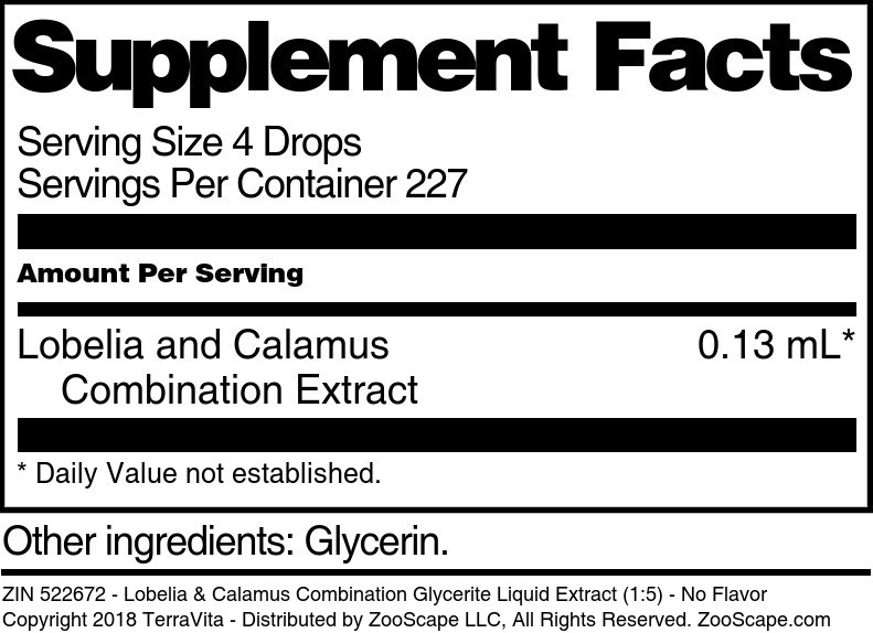 Lobelia & Calamus Combination Glycerite Liquid Extract (1:5)