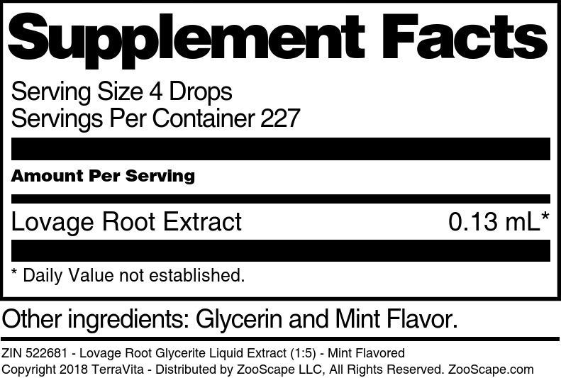 Lovage Root Glycerite Liquid Extract (1:5)