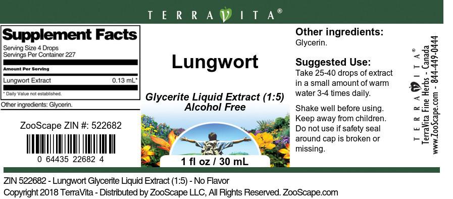Lungwort Glycerite Liquid Extract (1:5)