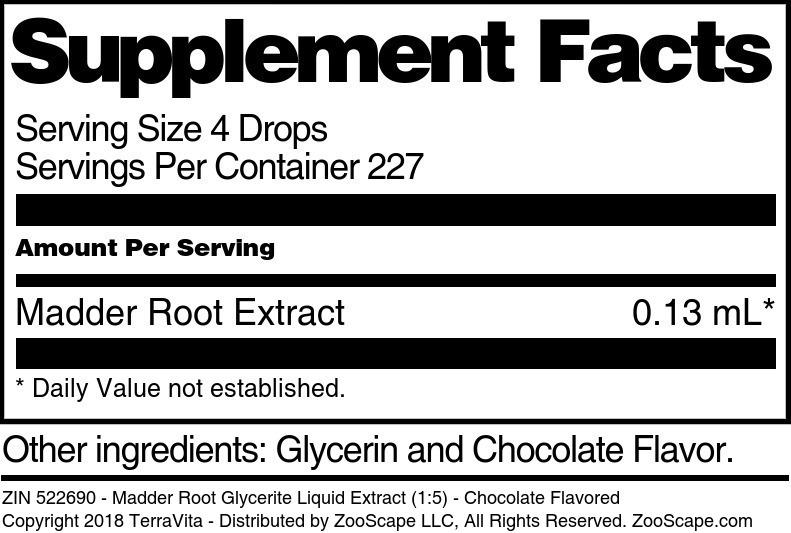 Madder Root Glycerite Liquid Extract (1:5)