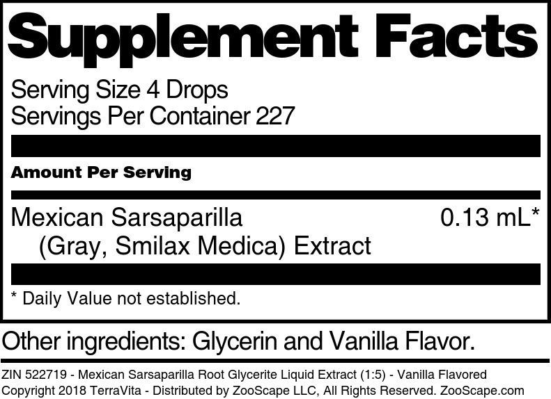 Mexican Sarsaparilla Root Glycerite Liquid Extract (1:5)