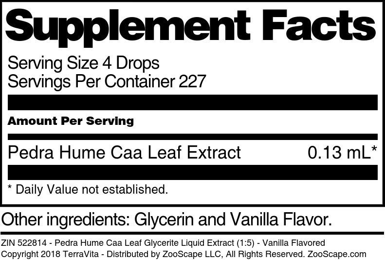 Pedra Hume Caa Leaf Glycerite Liquid Extract (1:5)