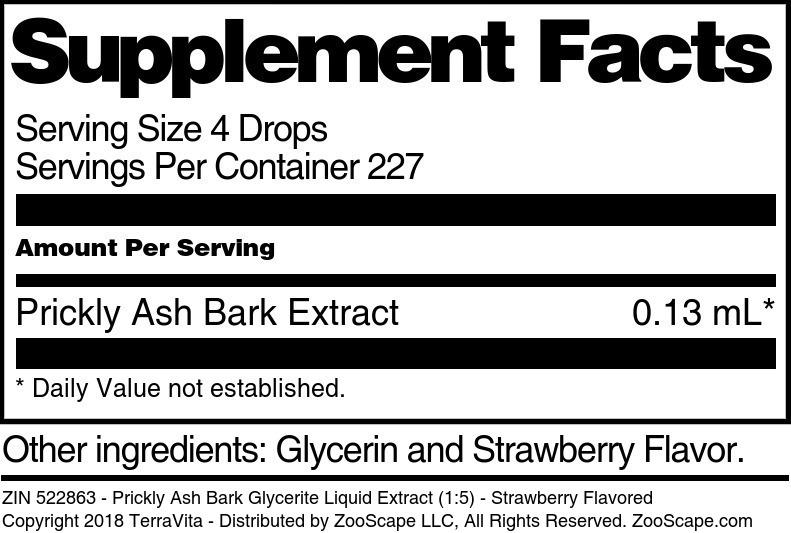 Prickly Ash Bark Glycerite Liquid Extract (1:5)