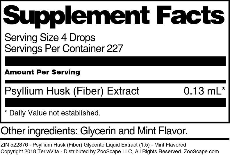 Psyllium Husk (Fiber) Glycerite Liquid Extract (1:5)