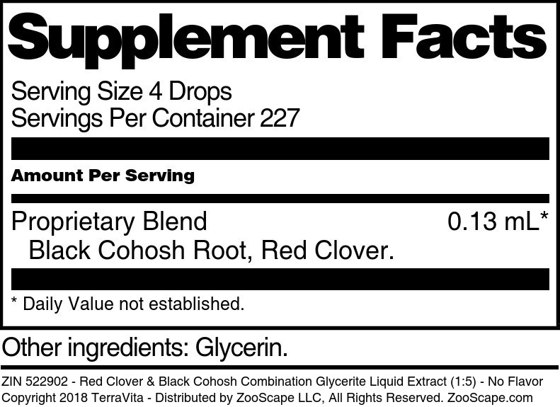 Red Clover & Black Cohosh Combination Glycerite Liquid Extract (1:5)