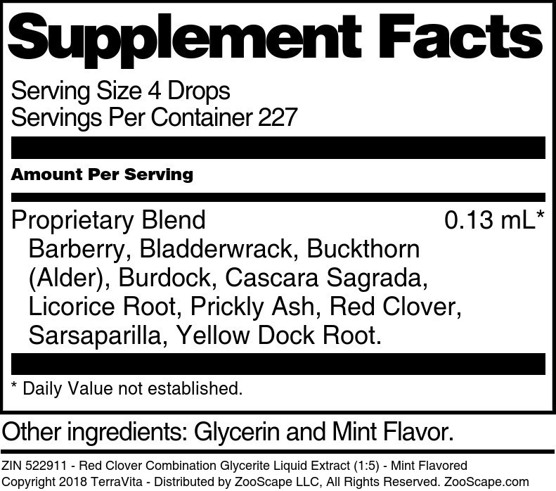 Red Clover Combination Glycerite Liquid Extract (1:5)