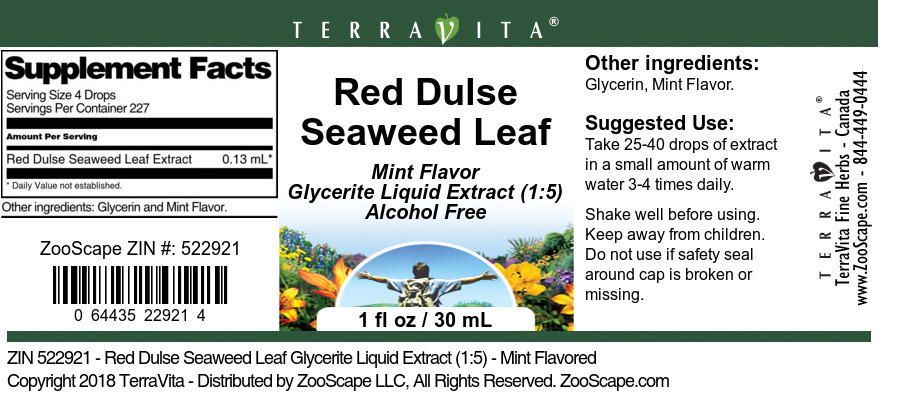 Red Dulse Seaweed Leaf Glycerite Liquid Extract (1:5)