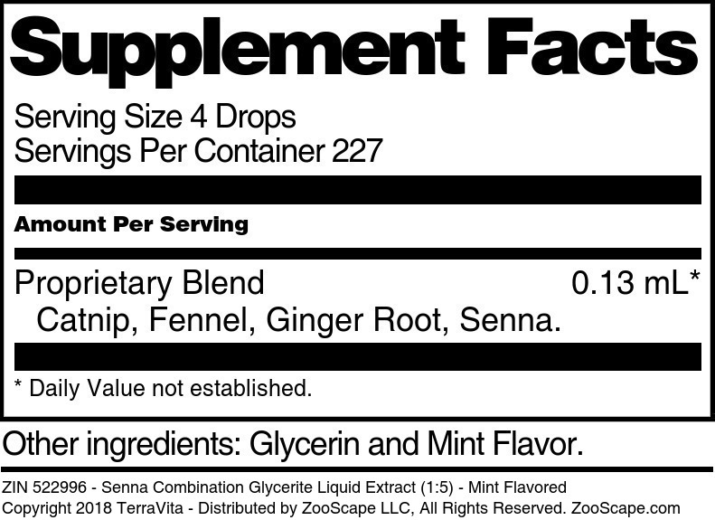 Senna Combination Glycerite Liquid Extract (1:5)