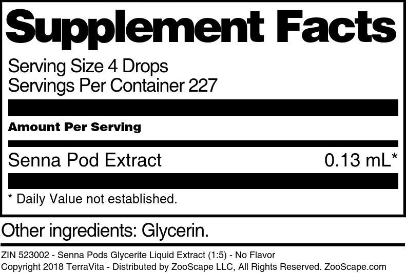 Senna Pods Glycerite Liquid Extract (1:5)