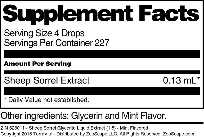 Sheep Sorrel Glycerite Liquid Extract (1:5)