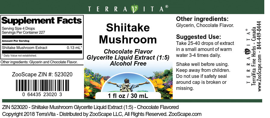Shiitake Mushroom Glycerite Liquid Extract (1:5)