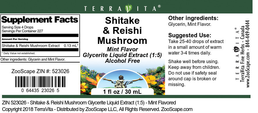 Shitake & Reishi Mushroom Glycerite Liquid Extract (1:5)