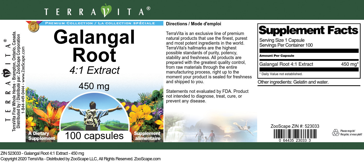 Galangal Root 4:1 Extract - 450 mg