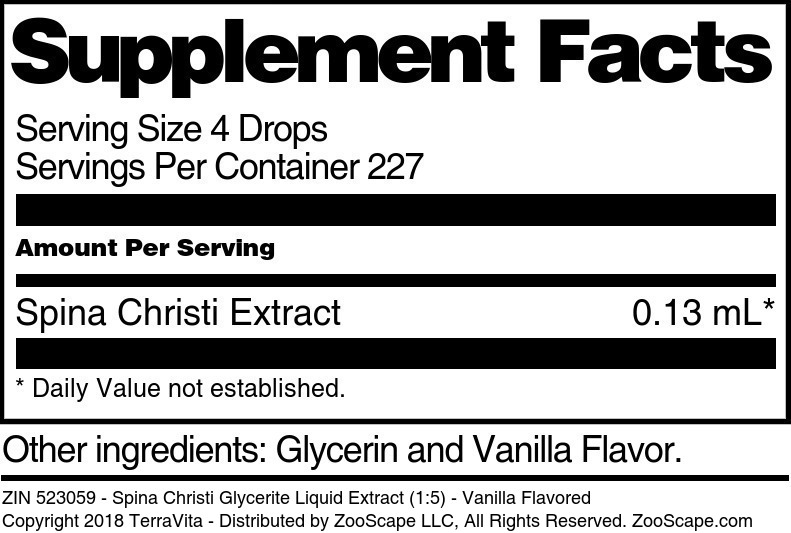 Spina Christi Glycerite Liquid Extract (1:5) - Vanilla Flavored - Label