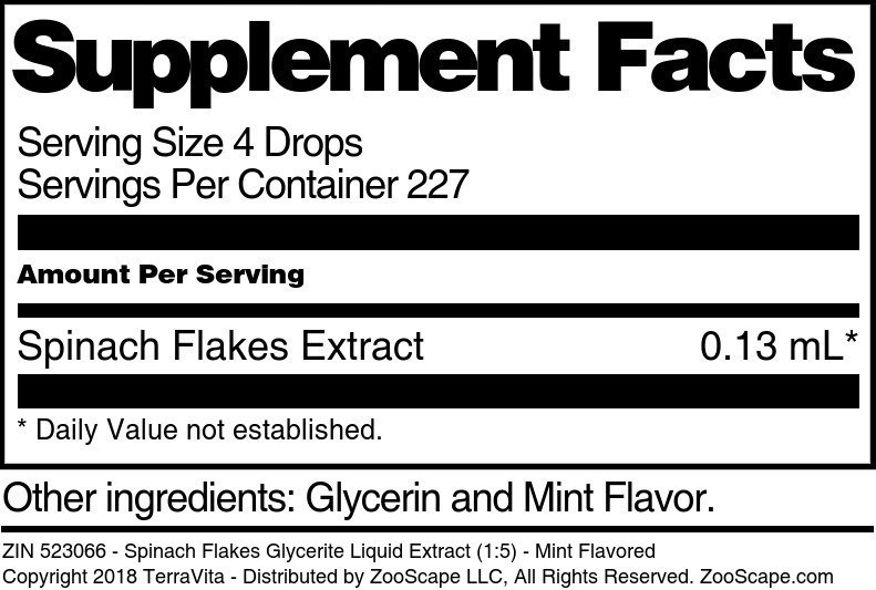 Spinach Flakes Glycerite Liquid Extract (1:5)