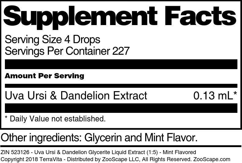 Uva Ursi & Dandelion Glycerite Liquid Extract (1:5)