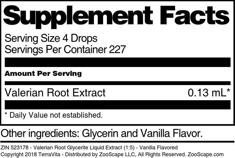 Valerian Root Glycerite Liquid Extract (1:5)