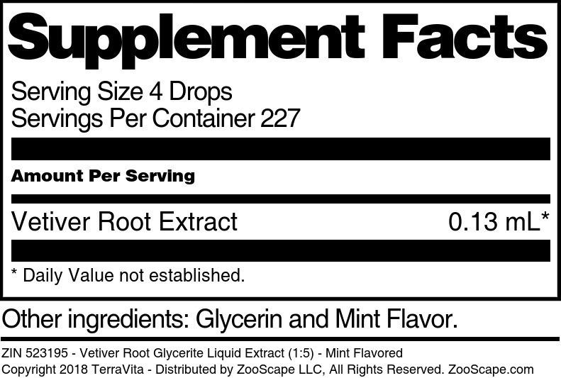 Vetiver Root Glycerite Liquid Extract (1:5)