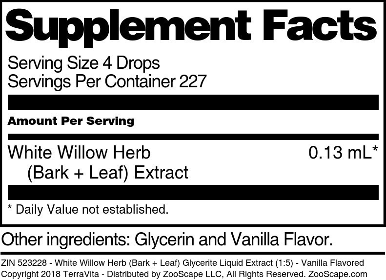 White Willow Herb (Bark + Leaf) Glycerite Liquid Extract (1:5)
