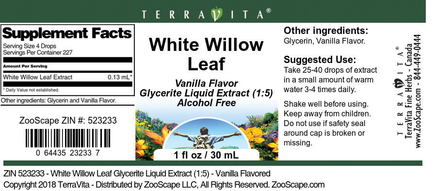 White Willow Leaf Glycerite Liquid Extract (1:5)