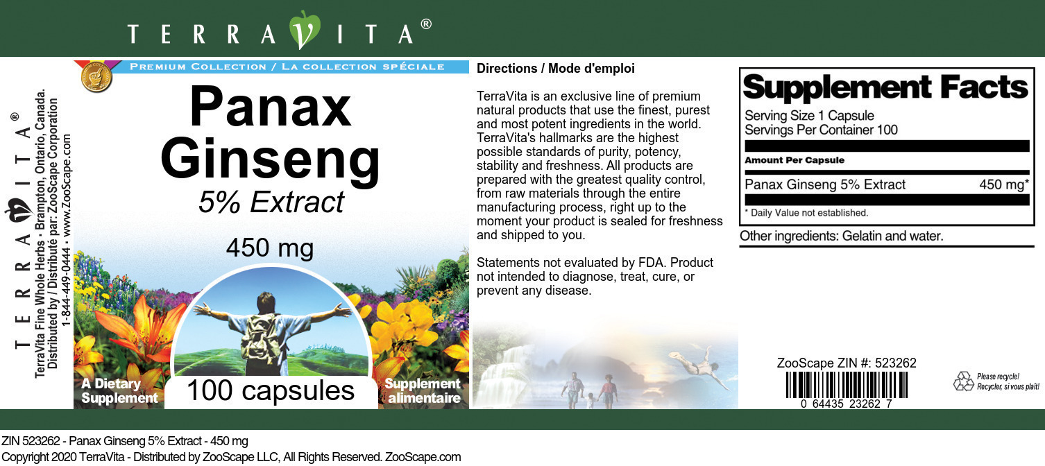 Panax Ginseng 5% Extract - 450 mg