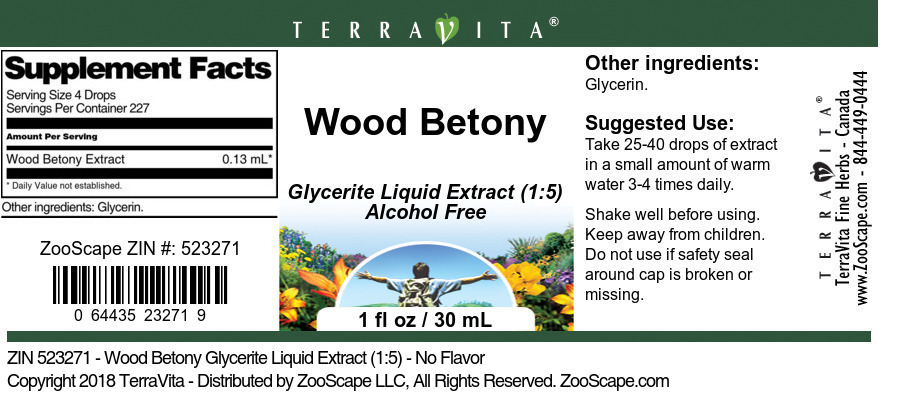 Wood Betony Glycerite Liquid Extract (1:5)