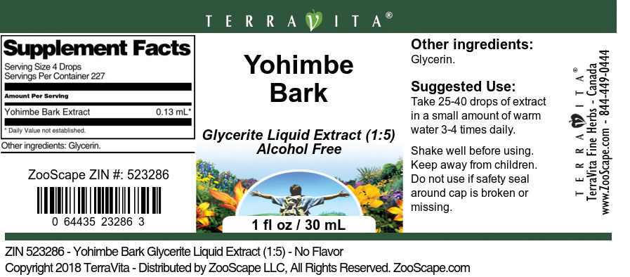 Yohimbe Bark Glycerite Liquid Extract (1:5)