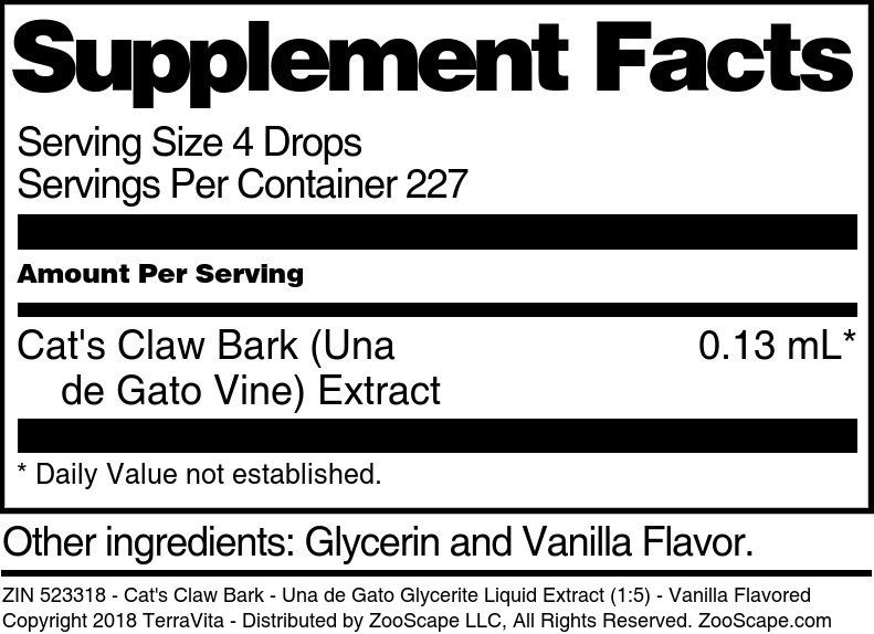 Cat's Claw Bark - Una de Gato Glycerite Liquid Extract (1:5)